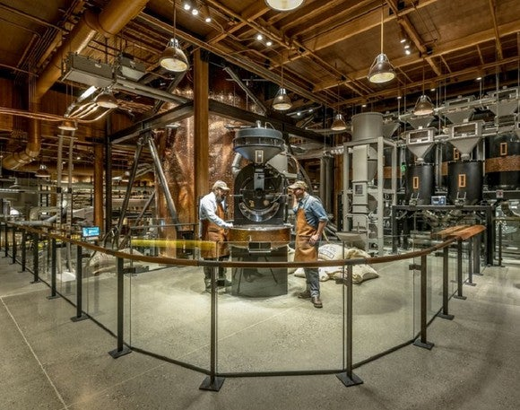 Starbucks Reserve Roastery with two workers looking at a coffee roasting machine.