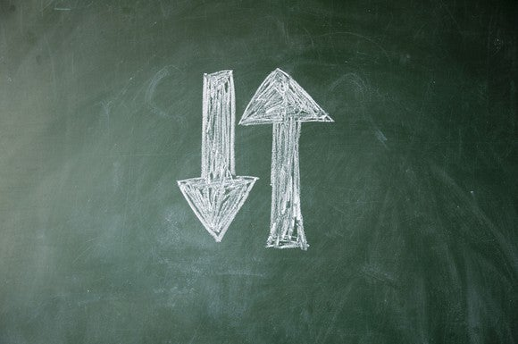Two arrows drawn on a chalkboard. One is pointing up and the other is pointing down.