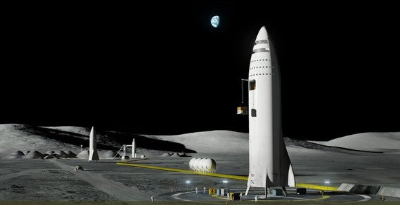 """Rendering of SpaceX """"BFR"""" standing on the Moon"""