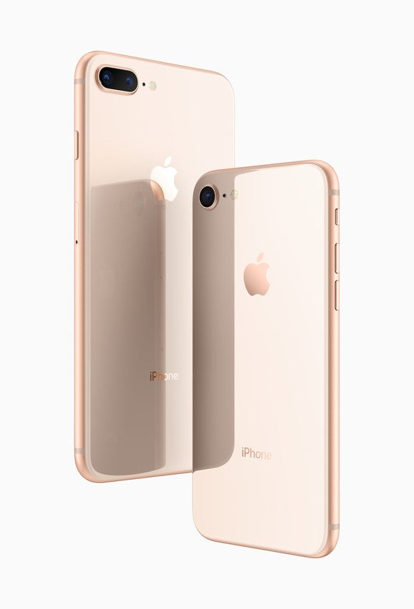 Apple's iPhone 8 and iPhone 8 Plus in gold.