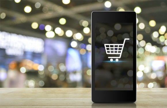 A smartphone displaying a shopping cart icon.