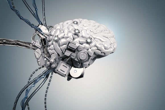 A brain hooked up to wires.