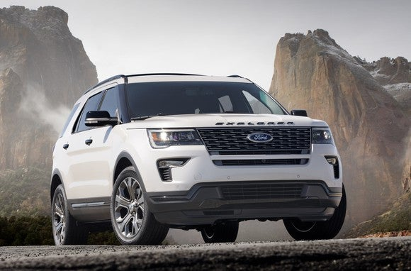 A while 2018 Ford Explorer in a rocky landscape.