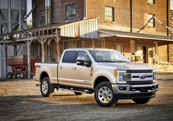 A Ford F-350 King Ranch pickup truck.