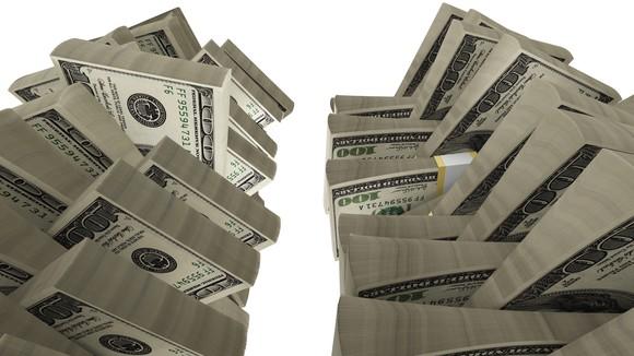 Twin stacks of money