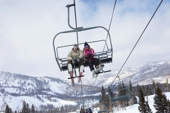 Young couple on a chairlift at a ski resort
