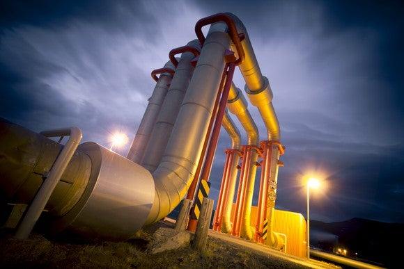 Pipelines at night.