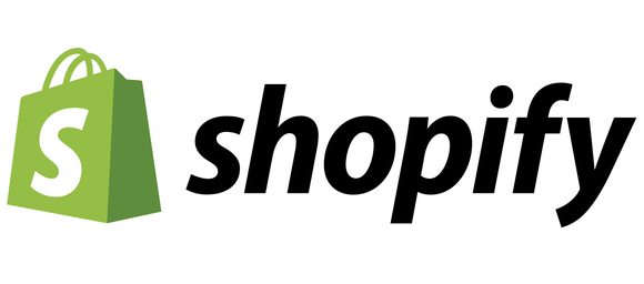 Shopify logo of green bag with letter S on it, followed by name in lowercase letters.