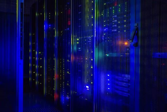 Data center lit up by LEDs