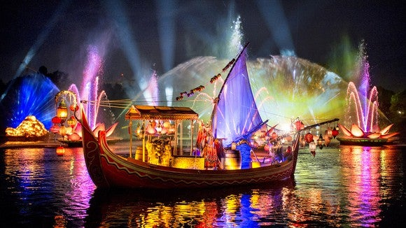 Rivers of Light lakefront light show at Disney's Animal Kingdom.