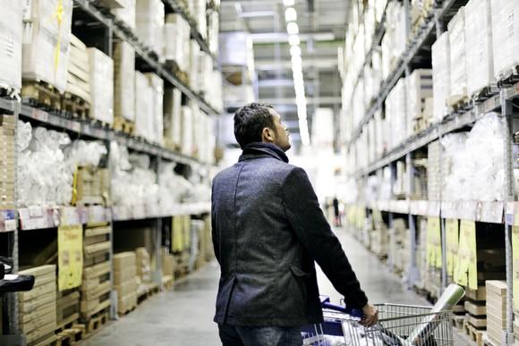 Man shopping in a warehouse club