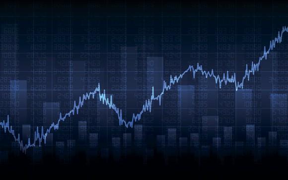 Rising stock graph.