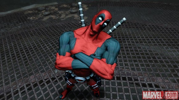 Deadpool on a grate.