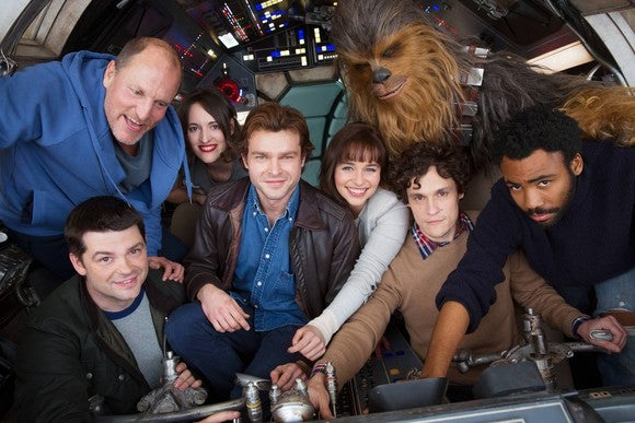 Cast of Han Solo on Millennium Falcon set.