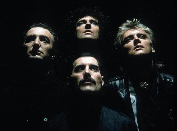 "Queen during the ""Bohemian Rhapsody"" video."