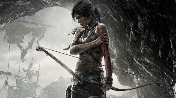 "Lara Croft in ""Tomb Raider"" art."