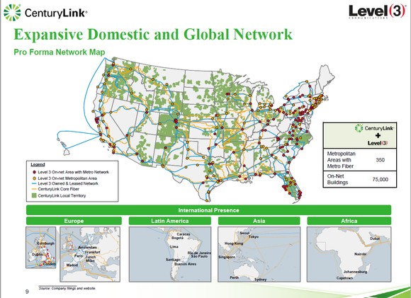 map of US showing the combined fiber footprint and local area networks of CenturyLin and Level 3.