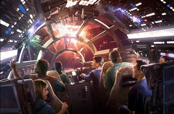 An illustration of a Disney theme park ride inside the Millenium Falcon