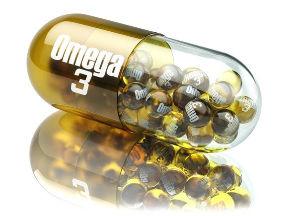 A vial of Omega 3 pills