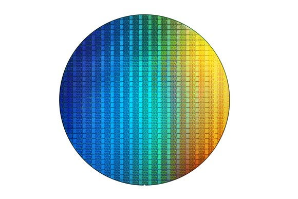 A wafer of Intel Coffee Lake chips.