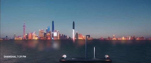 SpaceX BFR pictured landing off Shanghai