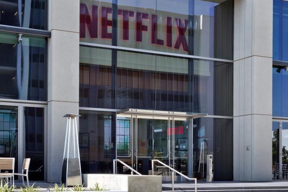 Photo outside entrance of Netflix's LA headquarters