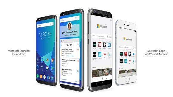 Renderings of Microsoft Launcher for Android and Edge for iOS and Android