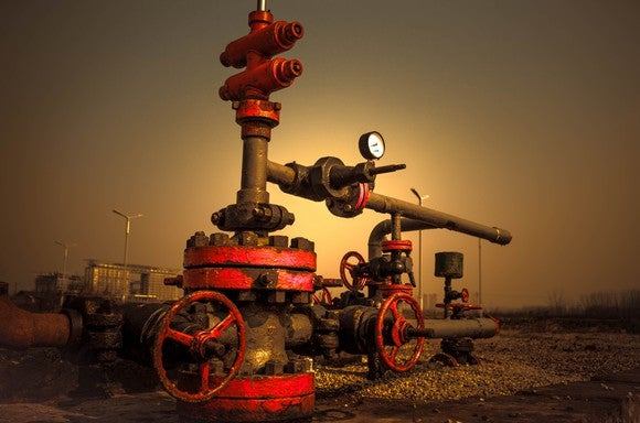 A gas well at sunset.