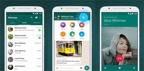 WhatsApp's mobile app shown on three smartphone screens.