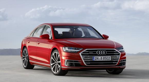 A red 2018 Audi A8, a big luxury sedan