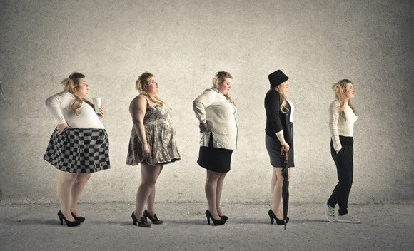 The same woman standing in a line transforming from obese to normal weight