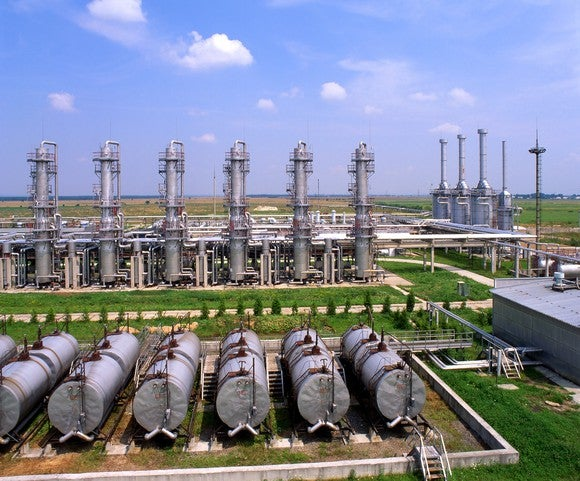 A natural gas processing plant.