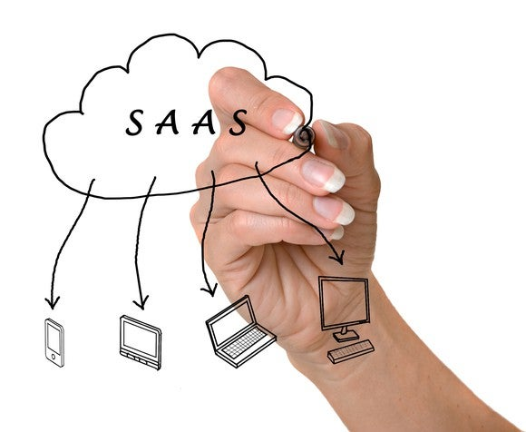 A person drawing a diagram of how SaaS works