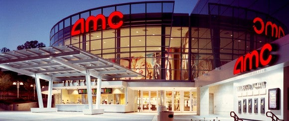The outside entrance to an AMC Theater.