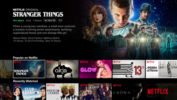 "The Netflix home screen with the description of ""Stranger Things"" being prominent."