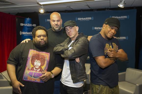 Eminem and friends at Sirius XM's studios.
