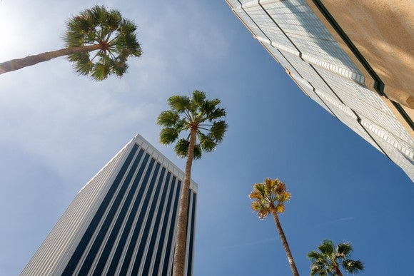 Looking up at the Bank of America Plaza in Los Angeles, California.