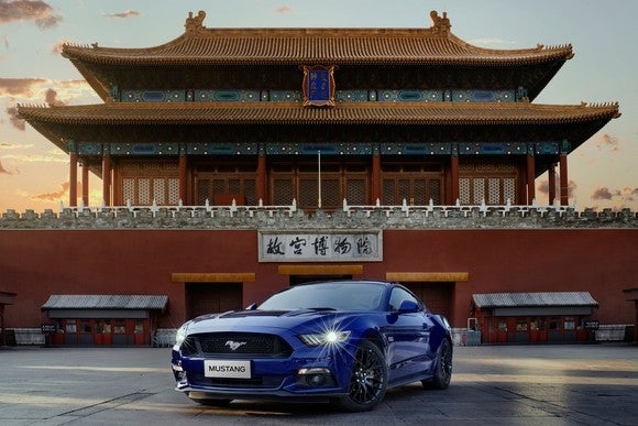 A blue Ford Mustang in front of a traditional Chinese building.