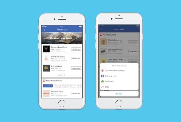 Food ordering interface in Facebook app