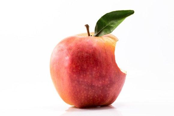 An apple with a bite taken out of it