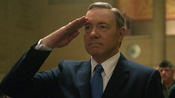 "Kevin Spacey in ""House of Cards"" engaging in a salute."