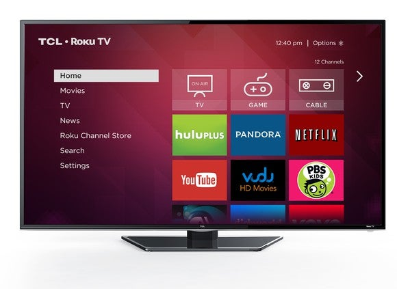 A TCL television displaying the home screen for the Roku TV platform.