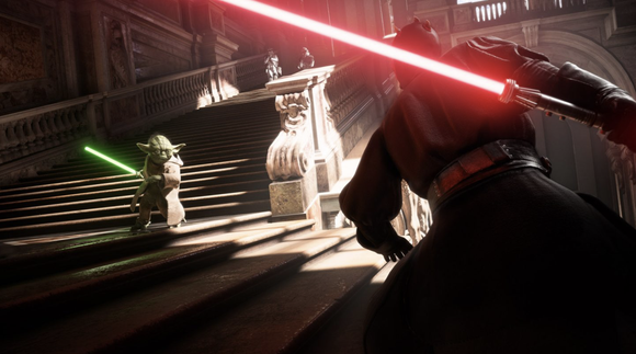 """Star Wars Battlefront 2"" game screenshot depicting characters engaging in a lightsaber duel."