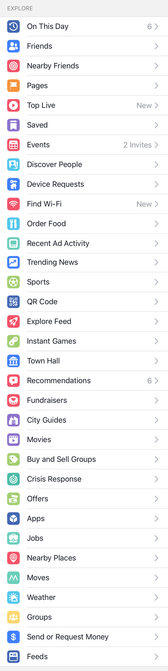 Sidebar of Facebook app