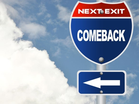 "Road sign reading ""Next exit: Comeback"""