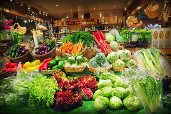 An assortment of vegetables and produce at a grocery store