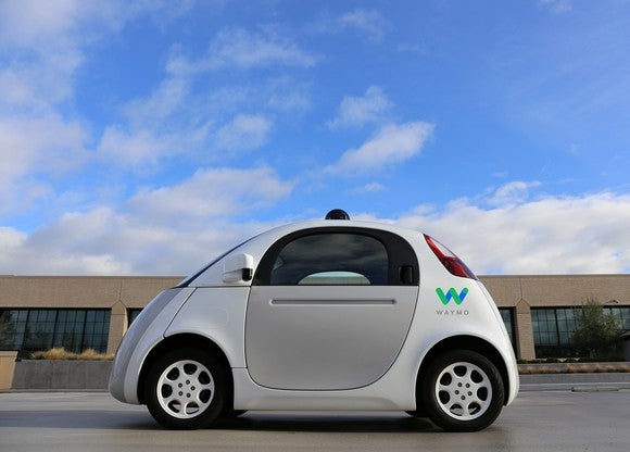 "A Google ""panda car"" self-driving test vehicle."
