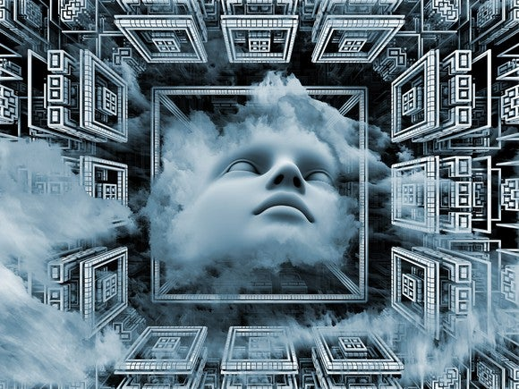 A human face in the middle of a box with clouds around it.