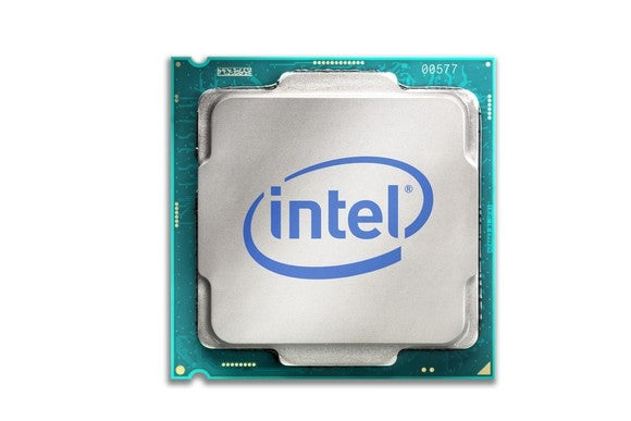 An Intel desktop processor with an Intel logo etched on it.
