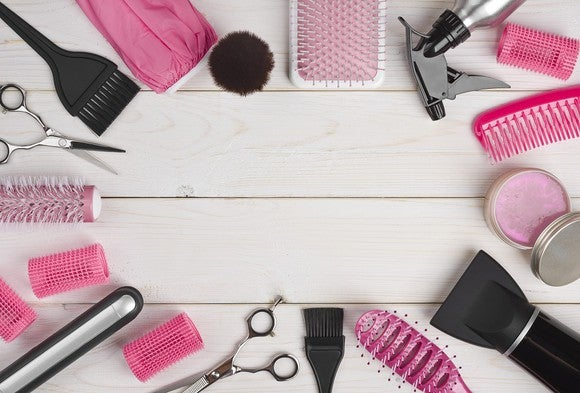 A selection of hair care and beauty products on a table.
